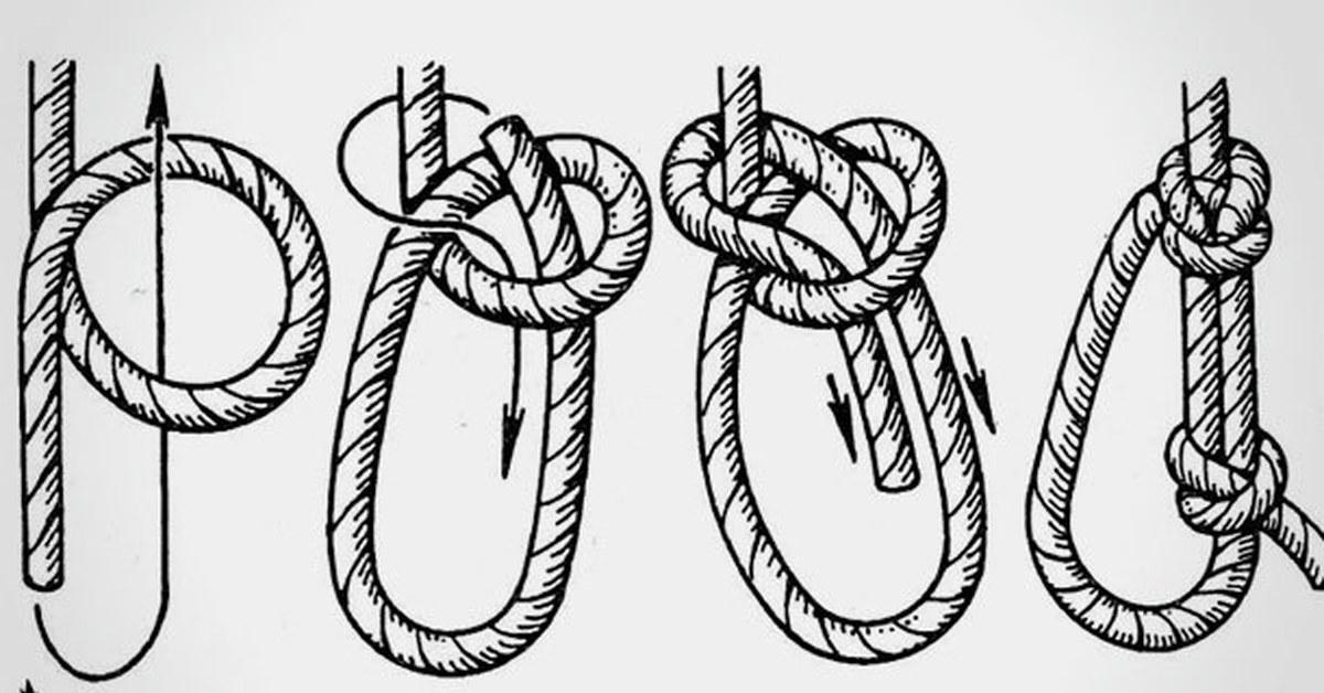 Булинь узел - схема вязания