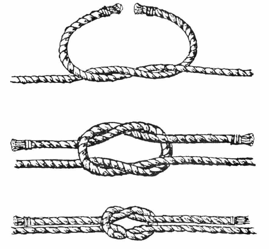 Прямой узел схема вязания