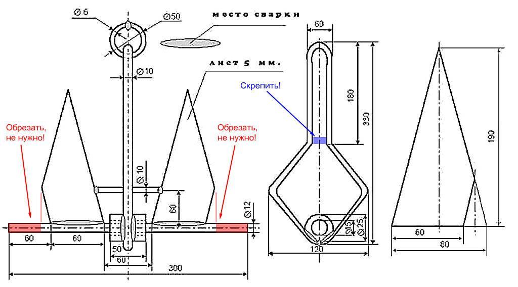 Изготовление якорей для лодки ПВХ своими руками