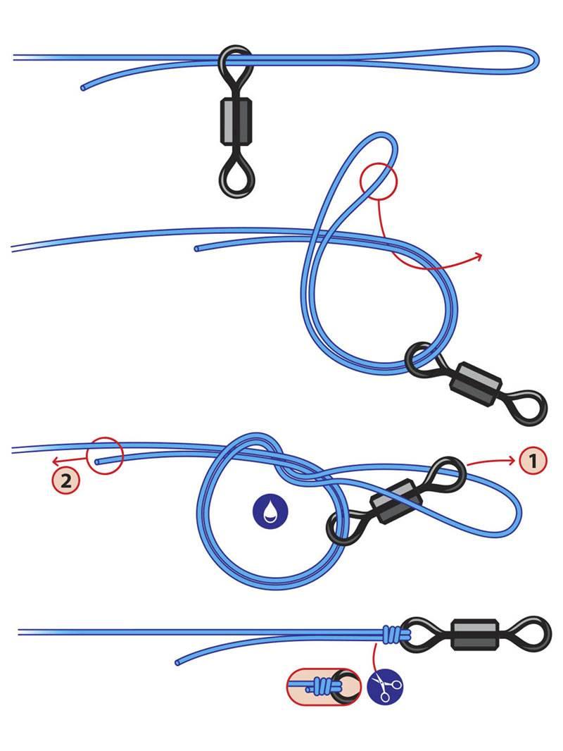Завязать блесну на леску на спиннинг можно узлом «Хоумер»